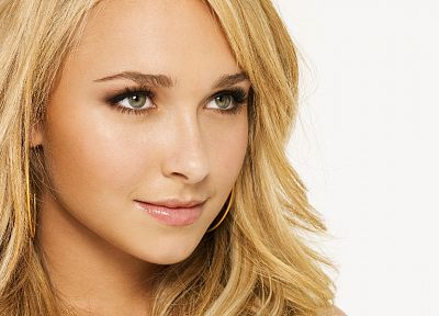 blondes, women, actress, Hayden Panettiere, celebrity, green eyes, smiling, faces, white background - random desktop wallpaper