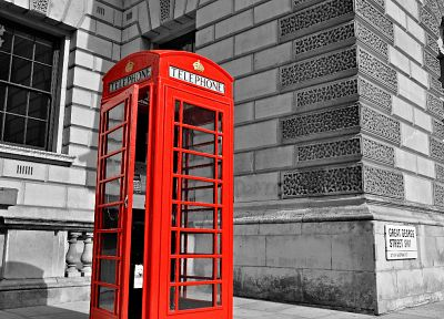 black, red, white, old, Britain, London, selective coloring, sidewalks, phone booth, English Telephone Booth - desktop wallpaper