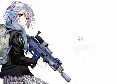 headphones, girls with guns, Fuyuno Haruaki, anime, simple background, white background - related desktop wallpaper