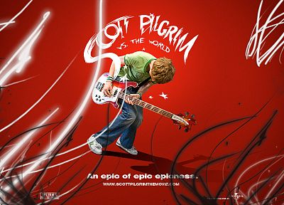 Scott Pilgrim, guitars, Scott Pilgrim vs. the World, posters, Michael Cera - desktop wallpaper
