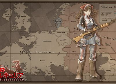 maps, anime girls, Melchiott Alicia, Valkyria Chronicles - desktop wallpaper