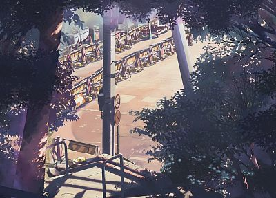 landscapes, trees, Makoto Shinkai, 5 Centimeters Per Second, artwork, drawings - random desktop wallpaper