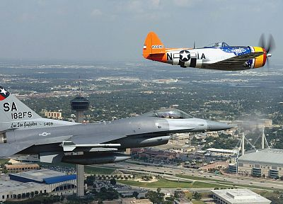 aircraft, military, World War II, Warbird, P-47 Thunderbolt, F-16 Fighting Falcon, fighters - related desktop wallpaper