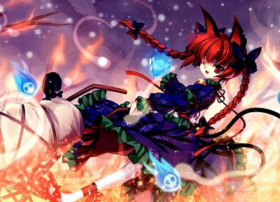 tails, flames, skulls, video games, Touhou, dress, fire, redheads, long hair, ribbons, nekomimi, animal ears, red eyes, Kaenbyou Rin, bows, open mouth, bells, braids, wink, purple dress, anime girls, Capura Lin, wheelbarrow, hair ornaments - desktop wallpaper