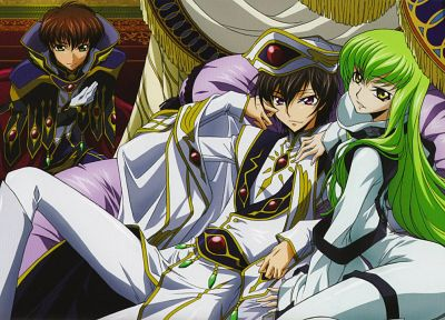 Code Geass, Kururugi Suzaku, Lamperouge Lelouch, C.C., anime - random desktop wallpaper