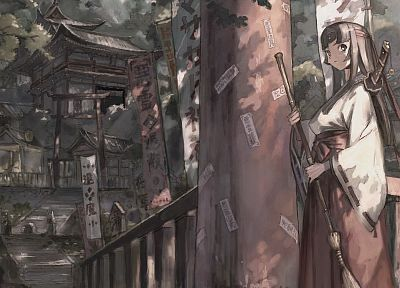 brunettes, long hair, buildings, Queens blade, brooms, scenic, Tomoe, Japanese clothes - desktop wallpaper