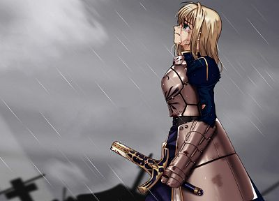 blondes, Fate/Stay Night, Battlefield, rain, blood, tears, armored, armor, Type-Moon, Saber, Bloodbath, swords, Broken Sword, Fate series - related desktop wallpaper