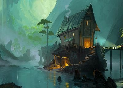 paint, fantasy art, artwork, drawings, house, Andrew Theophilopoulos - related desktop wallpaper