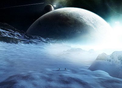 ice, landscapes, outer space, stars, planets, digital art - related desktop wallpaper