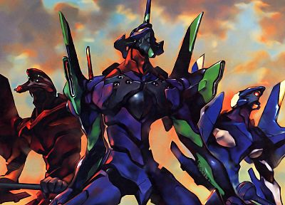 Neon Genesis Evangelion, EVA Unit 02, EVAs, EVA Unit 01, EVA Unit 00 - related desktop wallpaper