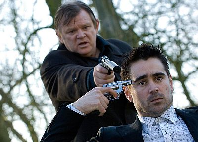 trees, movies, revolvers, handguns, Colin Farrell, In Bruges, Brendan Gleeson - random desktop wallpaper