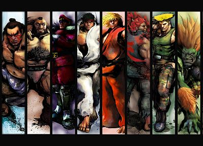 video games, Ryu, Sagat, Street Fighter IV, Akuma, Ken, Zangief, Blanka, Vega, E. Honda, Guile - random desktop wallpaper