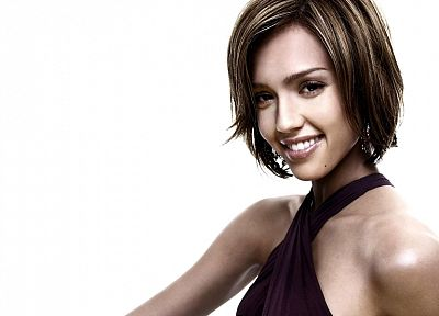 brunettes, women, Jessica Alba, actress, white background - desktop wallpaper