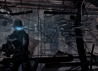 video games, guns, station, suit, Dead Space, armor, pulse rifle, cities - related desktop wallpaper
