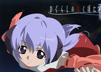 Higurashi no Naku Koro ni, horns, purple hair, Miko, Japanese clothes, detached sleeves, Furude Hanyuu - desktop wallpaper