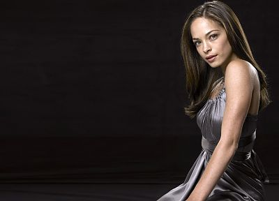 brunettes, women, Kristin Kreuk, black background - random desktop wallpaper