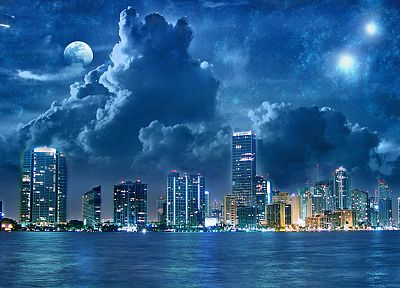 clouds, horizon, cityscapes, architecture, buildings - desktop wallpaper