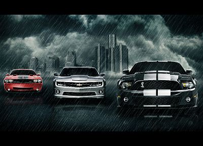cars, muscle cars, vehicles, Chevrolet Camaro, sports cars, Dodge Challenger SRT, Ford Mustang Cobra, Ford Mustang Shelby GT500 - desktop wallpaper