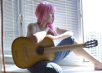 women, barefoot, pink hair, guitars, window panes - random desktop wallpaper