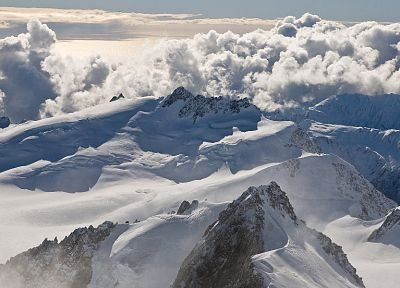 mountains, clouds, winter, New Zealand, snow landscapes - desktop wallpaper