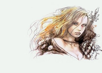 women, Luis Royo, drawings, white background - random desktop wallpaper