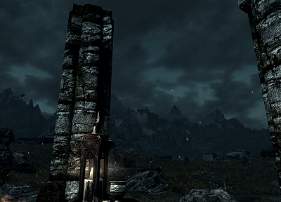 video games, mountains, landscapes, dragons, night, outdoors, shrine, The Elder Scrolls V: Skyrim - desktop wallpaper