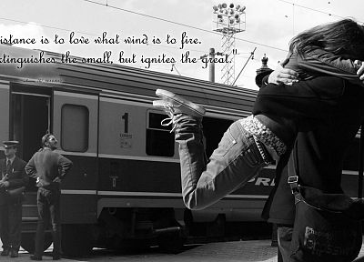 love, quotes, trains, couple, grayscale, vehicles, hugging - related desktop wallpaper