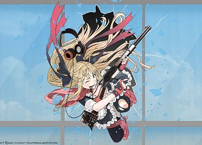headphones, blondes, rifles, weapons, torn clothing, maid costumes, anime girls - desktop wallpaper