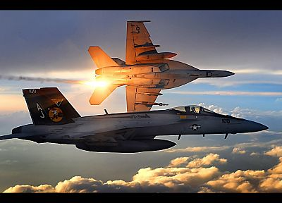 clouds, aircraft, military, navy, planes, vehicles, F-18 Hornet - desktop wallpaper