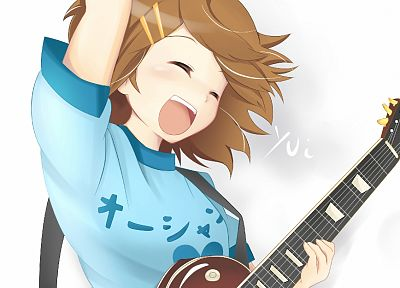 K-ON!, Hirasawa Yui, guitars, anime girls, guitarists - desktop wallpaper