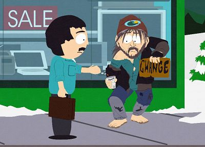 South Park, funny, homeless person, Randy Marsh - desktop wallpaper