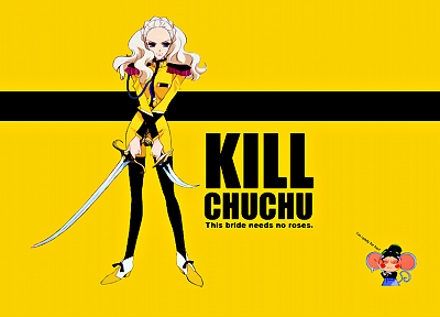 yellow, text, Kill Bill, crossovers, Revolutionary Girl Utena, yellow background - random desktop wallpaper