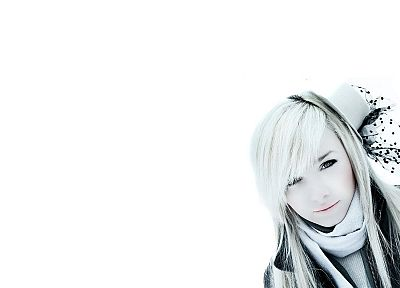 women, Laura Ivana, white hair, hats, simple background - desktop wallpaper