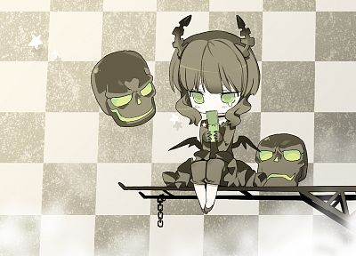 skulls, Black Rock Shooter, Dead Master, green eyes - random desktop wallpaper