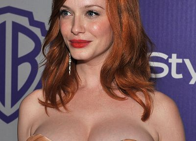women, redheads, cleavage, Christina Hendricks - related desktop wallpaper