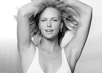 lingerie, blondes, women, Charlize Theron, monochrome - newest desktop wallpaper