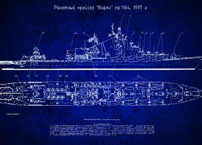 Soviet, ships, blueprints, scheme, missle cruiser, Varyag, Slava class cruiser, Russian Navy, Russians - related desktop wallpaper