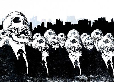 skulls, Anonymous, suit, tie, skeletons, Alex Cherry - random desktop wallpaper