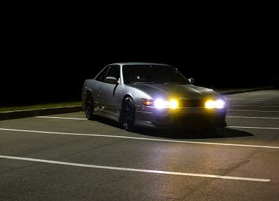 night, cars, parking, Nissan Silvia S13 - random desktop wallpaper