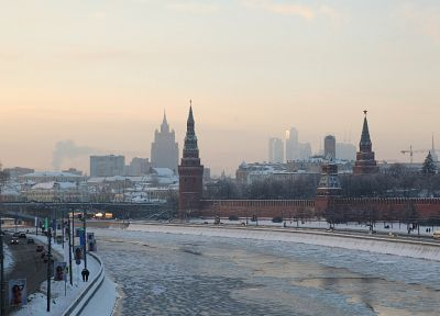 winter, snow, cityscapes, Moscow, Kremlin, rivers - random desktop wallpaper