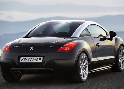 black, cars, back view, Peugeot RCZ - desktop wallpaper