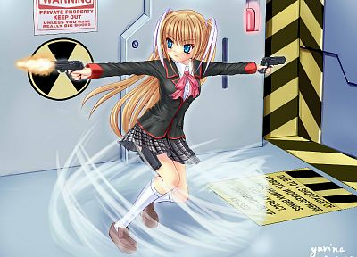 blondes, pistols, guns, blue eyes, Little Busters!, Kamikita Komari - related desktop wallpaper
