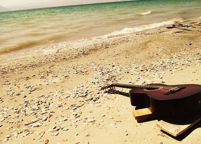 landscapes, sand, guitars, beaches - desktop wallpaper