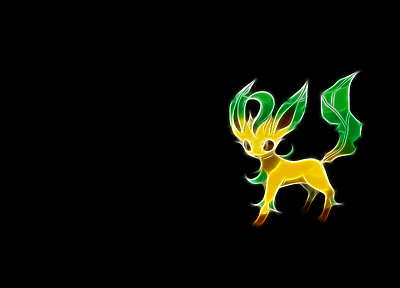 Pokemon, Fractalius, simple background, black background - desktop wallpaper