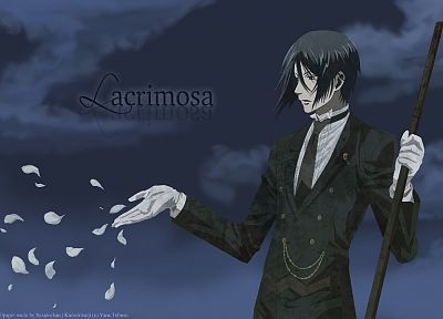 brunettes, clouds, suit, Kuroshitsuji, Sebastian Michaelis, anime, flower petals - desktop wallpaper