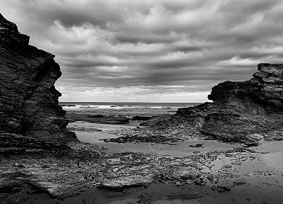 ocean, clouds, landscapes, nature, rocks, grayscale, monochrome, sea, beaches - random desktop wallpaper