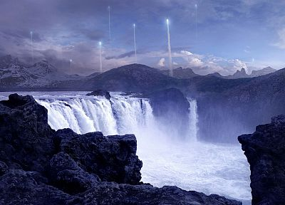 fantasy, aircraft, rocks, digital art, artwork, contrails, waterfalls, 3D, Andree Wallin - related desktop wallpaper