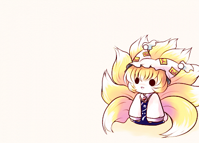 blondes, tails, video games, Touhou, animal ears, black eyes, short hair, Yakumo Ran, hats, fox girls, simple background, anime girls, white background, kitsunemimi - desktop wallpaper