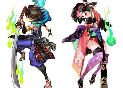 Momohime, Japanese clothes, simple background, Oboro Muramasa, Kisuke - random desktop wallpaper