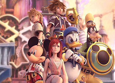 video games, Kingdom Hearts, Disney Company, Sora (Kingdom Hearts), Kairi, Goofy, Mickey Mouse, Donald Duck, Roxas - related desktop wallpaper